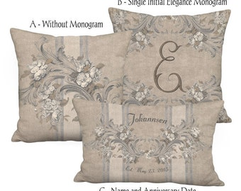 Personalized Flowers and Scrolls French Country Grain Sack Style Linen Pillow 16x 18x 20x 22x 24x 26x 28x 12x18 12x20 14x26 16x24 16x26 Inch