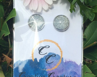 Handmade silver glitter glass dome earrings