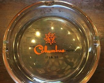 Antique The Columbus Hotel Miami Large Glass Ashtray
