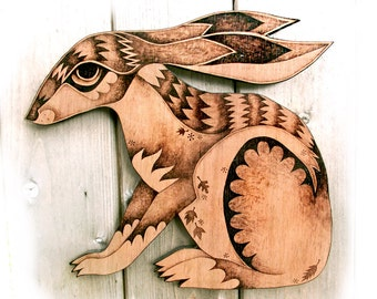 Hare Wall Hanging, wood, Pyrography Wall art, wood burning, hare decor, running hare art, moon gazing hare, woodland decor, wood wallhanging
