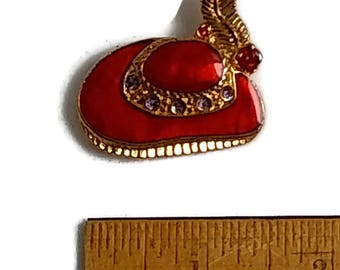 Vintage Red Hat Society Enameled Red and Purple, Pin Back Brooch, Gold Tone, Hat, 1980s.