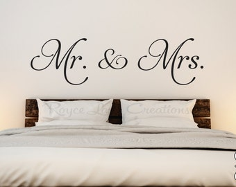 Mr. and Mrs. Vinyl Bedroom Wall Decal  - Bedroom Decor - Bedroom Wall Decor-Master Bedroom Decor- Bedroom Decal