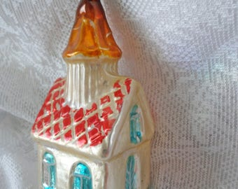Antique Glass Christmas Tree Ornament  - Chapel Church