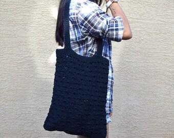 Black crochet tote bag 100% cotton reusable bag library bag stylish shopping bag literary bag boho bohemian gift for friend gift for her