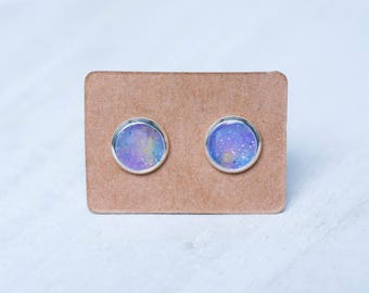 Tiny pastel galaxy stud earrings, galaxy jewelry gift, pastel goth, gift for daughter, xmas gift for sister, gift for mom to be, christmas