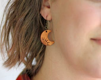 Wood Burned Sun Earrings | Wood Earrings | Moon and Sun | Rustic | Gifts for Her | Pyrography | Unique gifts | Boho Jewelry | Wood Jewelry