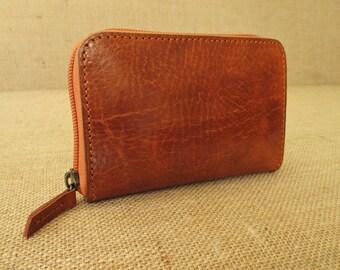 Leather zip around small wallet, handmade women wallet, clutch wallet, ladies purse