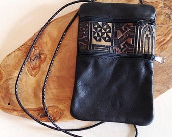 Vintage Leather Small Tribal Crossbody Bag