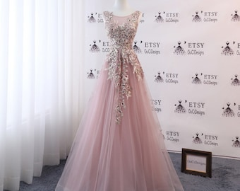 A-line Women Formal Dress Blush Pink Long Prom Dress Tulle with Embroidery Applique Pearl High Back Evening Dress Bridal Wedding Party Dress