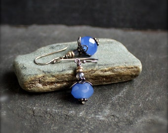 Blue Chalcedony Dangle Earrings - Blue Mystic Quartz, Small Stone Drop, Sterling Silver, Gemstone Jewelry