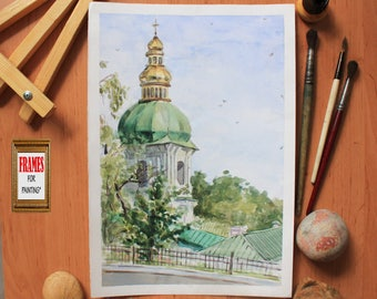 Religion art Church painting Temple painting Landscape painting Plein air Watercolor painting Original artwork Impressionist art Wall art