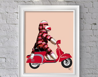 Sock monkey wall art -  Sock Monkey on Moped - Sock Monkey art Sock Monkey print kids wall print Unique kid gift childrens wall art