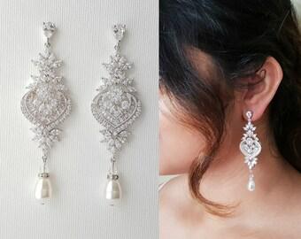 Crystal Bridal Earrings, Long Drop Earrings, Statement Bridal Earrings, Wedding Jewelry, Swarovski Pearls, Chandelier Wedding Earrings, Rosa