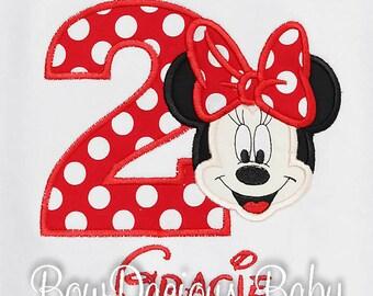 Minnie Mouse Birthday Shirt, Monogrammed Minnie Mouse Shirt, Personalized Minnie Birthday Shirt, Minnie Face Birthday Shirt, Minnie Face