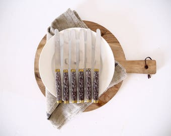 French vintage bakelite wooden-like handled dinner knives set of six