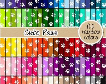SALE 100 paw print digital paper rainbow digital paper paw pattern animal print digital paper scrapbooking 12x12 pastel neutral bright dark