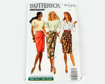 Vintage Butterick Sewing Pattern 4745 - Misses' Skirts - Size 6, 8, 10 -  women's, wrap skirt, sarong style, dressy, work, casual, side tie