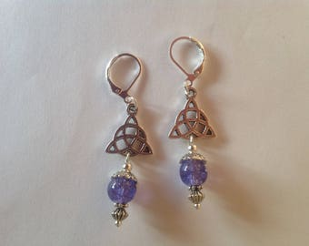 Purple triquetra drop earrings long earrings dangle earrings purple earringsTriquetra earrings