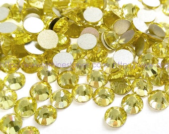 144pcs Pale Yellow (Jonquil) High Quality Crystal Flatback Rhinestones size from 2mm 3mm 4mm 5mm 6mm