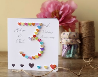 Handmade d anniversary card personalised personalized to