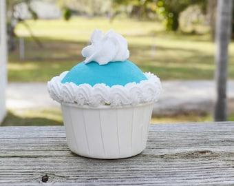 White and Blue Cupcake (fake)
