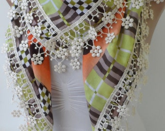 Soft Cotton lace scarf with cream lace Circle Pattern Shawl Summer scarf Gifts Woman scarf Feminine scarf Bohemian scarf Boho fashion Scarfs