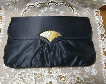 "Avon ""Gallery Originals"" Black Satin Evening Bag - Vintage Clutch Purse with Gold Clasp"