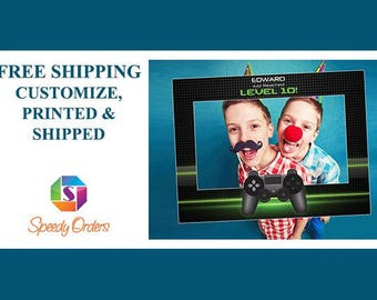 Large Personalized social Video Game Birthday photo booth Frame Prop, Video game Selfie Frame, Game Controller Frame, Gaming Party; 10011149