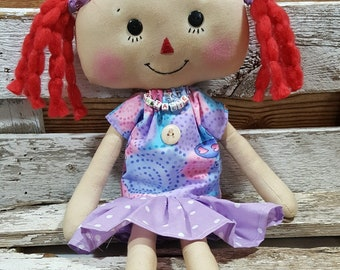 Raggedy Annie Primitive Dolls Natalie Annie Raggedy Ann Doll Lavender Dress Annie Doll