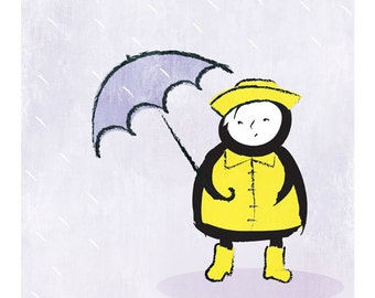 Spring Showers – original limited edition signed print. Umbrella, rain, yellow raincoat, rubber boot, wellies, Enzo Gallery.