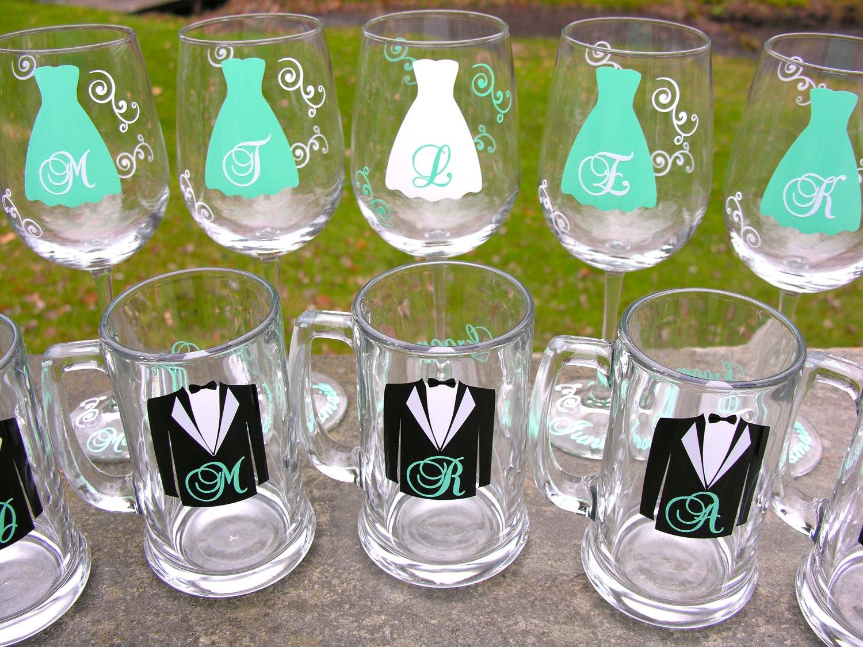 Greatest Set of 8 Bridesmaid wine glasses or Groomsmen beer mugs 8 YS51