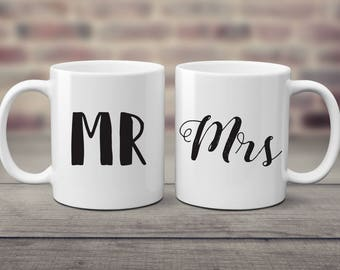 Couples Mugs, Mr and Mrs Gift, Wedding Gift, Engagement Gift, Wedding Mugs, Bridal Shower, Mug for Her, Mug for Him, Mrs Mug, Mr Mug