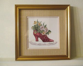 Red Shoe - Watercolor for fetish shoe (or foot)