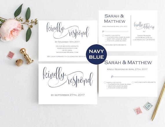 Navy Wedding RSVP Template RSVP Postcard Template Printable