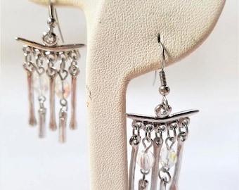 25% OFF SALE Silver tone Vintage Drop Pierced Earrings