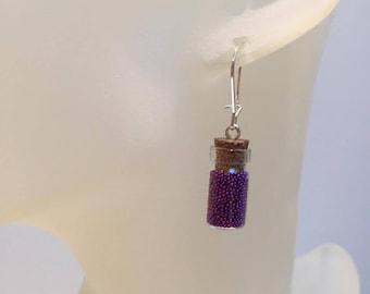 Purple Pearlescent glass vial earrings