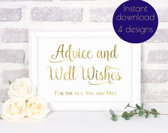 Advice for the bride and groom, Wedding advice cards, wedding advice sign, wedding advice card sign, wishing well sign, gold wedding, #ELISE