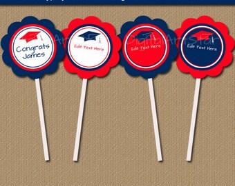 Printable Graduation Topper, Graduation Tag, Graduation Party Decorations, EDITABLE Cupcake Toppers, Graduation Download, Cupcake Picks G5