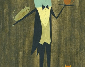 Hugo, cat servant.  Limited edition print by Matte Stephens.
