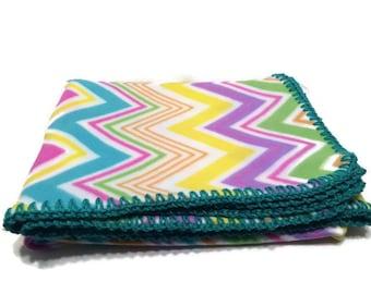 Rainbow Chevron Throw, Rainbow Blanket, Rainbow Fleece Throw, Rainbow Chevrons, Travel Blanket, Rainbow Bedding, Teal Crochet Edge, Kawaii