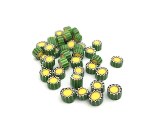 6-7mm Murrini Millefiori, Green Yellow, COE 104, Mosaic Art, Lampwork, Fused Glass, DIY Craft, Murano Glass, 6245