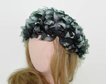 Nibud Gray Black Silk Flower Petal Hat, Vintage Silk Leaf Cap, Floral Slouch Hat, Original Design Made in Japan