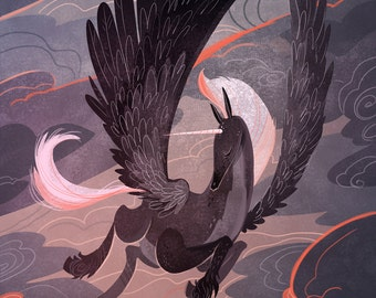 Stormy Sunset Pegasus 12x18 in art poster
