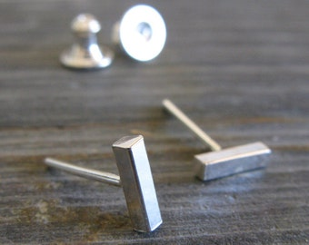 Dash stud earrings. Sterling silver little clean minimalist lines. Simple everyday jewelry. Womens jewelry. Gift under 30.