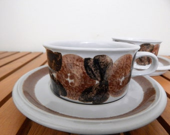 Set of 2 Vintage Arabia Finland Cup & Saucer 'Rosmarin' by Ulla Procope ( 4 lots by 2 available in total)