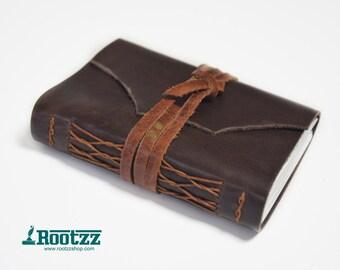 Brown leather journal - traveler's notebook - journal - travel journal - pocket size