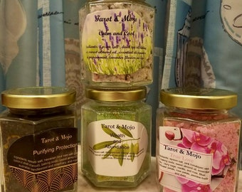 Bath salts for ritual or relaxation with dried flowers