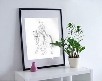 Minimalism Dressage Horse Sketch | Black and White | Horse Art Modern | Hand Drawn Art Sketch | Print