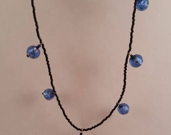 Glass Bead Black and Blue Necklace - Night on the Town