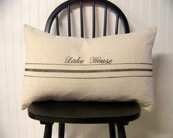 free shipping - grainsack pillow cover- black stripe - personalized - lake house - vintage style - lumbar - canvas- grain sack